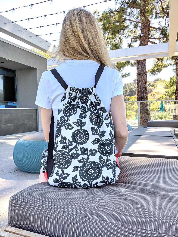 Black Floral Drawstring Bag