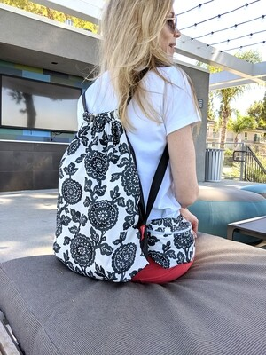 Black Floral Bag Set