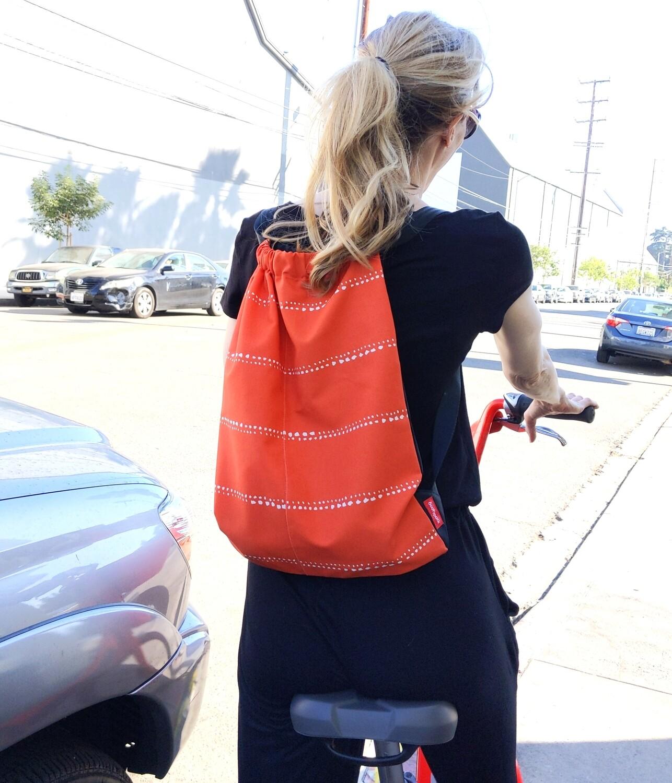 Orange Pinstripe Drawstring Bag