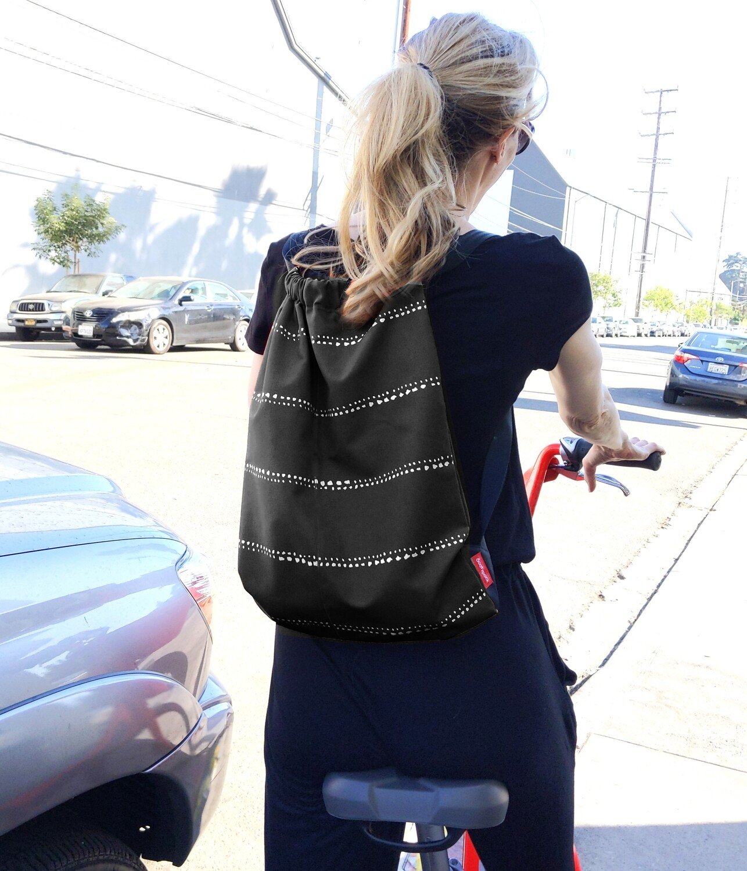 Black Pinstripe Drawstring Bag