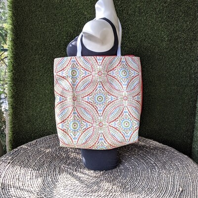 Orange Pattern Shopper Tote