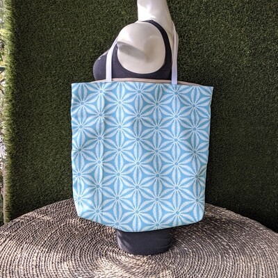 Turquoise Blue Patterned Shopper Tote