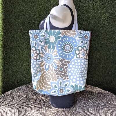 Blue Floral Shopper Tote
