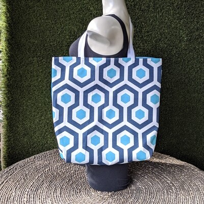 Blue Hexagon Shopper Tote