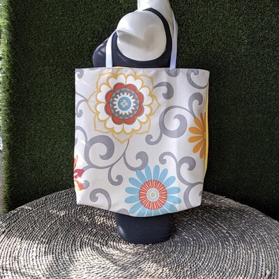 Gray Floral Shopper Tote