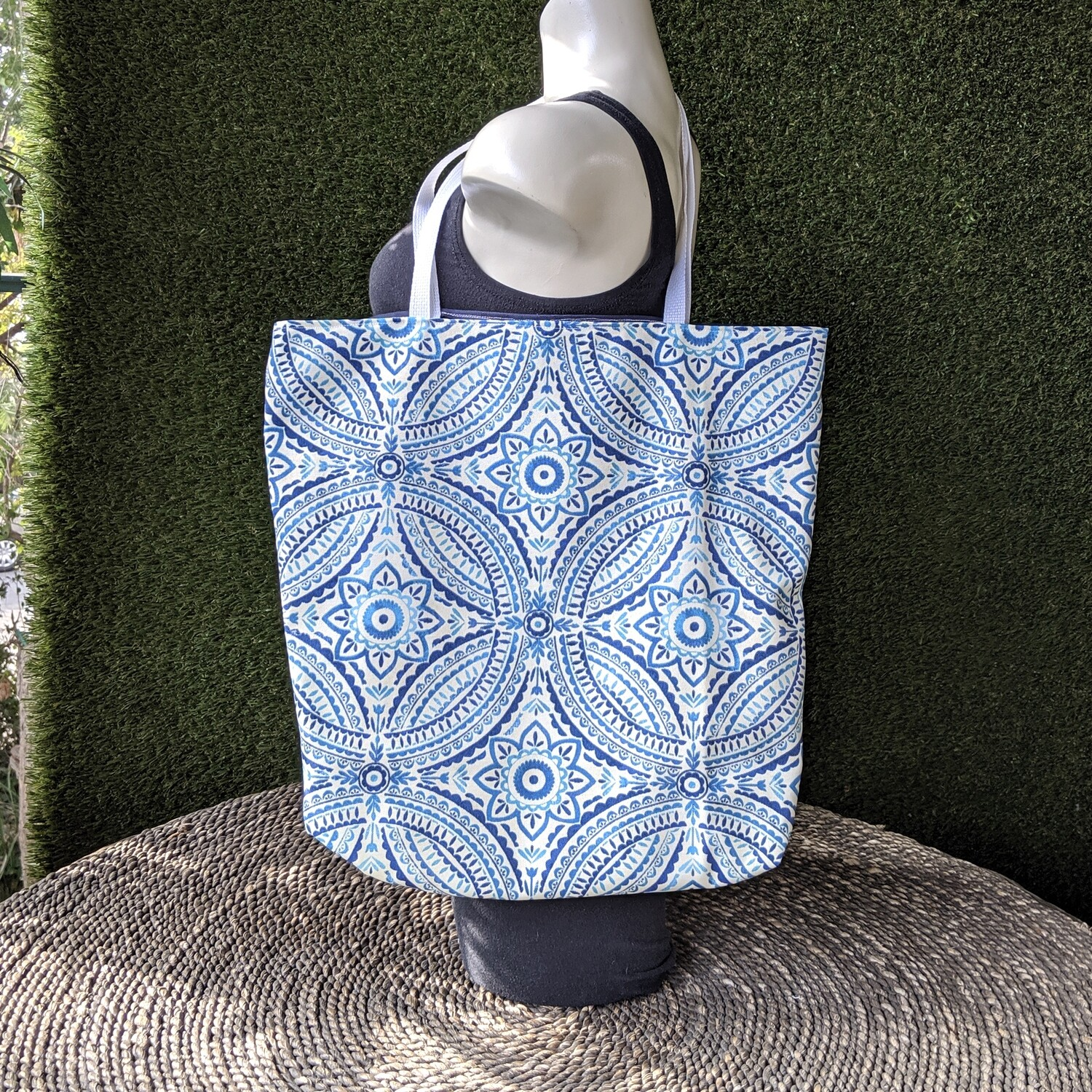 Blue Patterned Shopper Tote