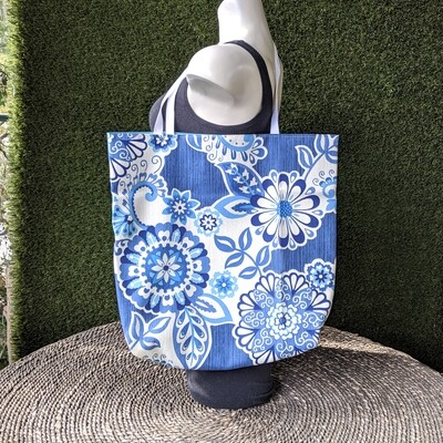 Blue Indian Print Shopper Tote