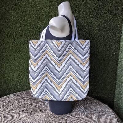 Gray Chevron Beach Tote