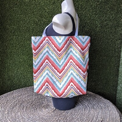 Red Chevron Beach Tote