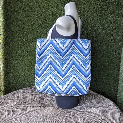 Blue Chevron Beach Tote