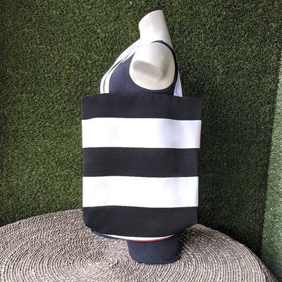 Black Stripe Beach Tote