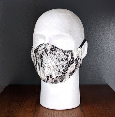 Arrows Print, Black White Face Masks, Small, Unisex, Washable, Reusable, Double Layer for Smog, Pollen, Dust, Smoke. Made in USA