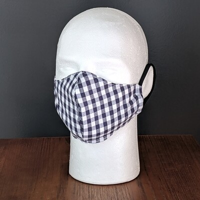 Navy Gingham Face Masks, Small, Unisex, Washable, Reusable, Double Layer for Smog, Pollen, Dust, Smoke. Made in USA