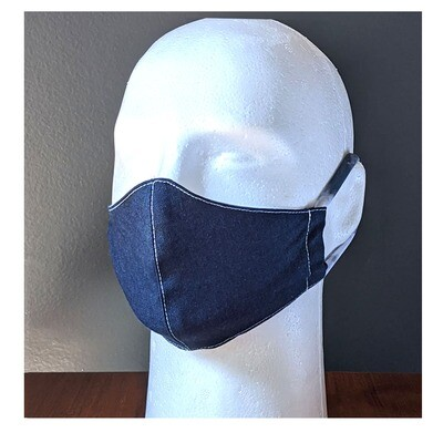 Dark Denim Navy Blue Face Masks, Small, Unisex, Washable, Reusable, Double Layer for Smog, Pollen, Dust, Smoke. Made in USA