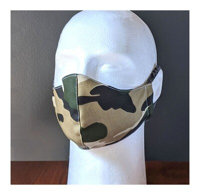 Camouflage Face Masks, Small, Unisex, Washable, Reusable, Double Layer for Smog, Pollen, Dust, Smoke. Made in USA