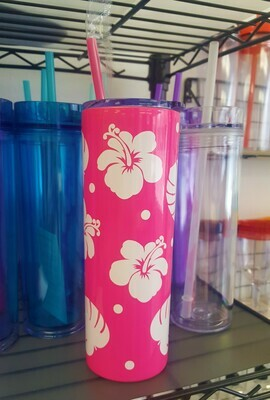 Tropical Hibiscus Flower Metal Coffee Tumbler, Hot Pink and White