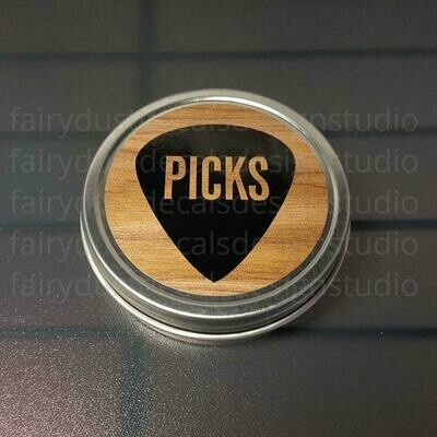 Guitar Pick Holder, round metal tin