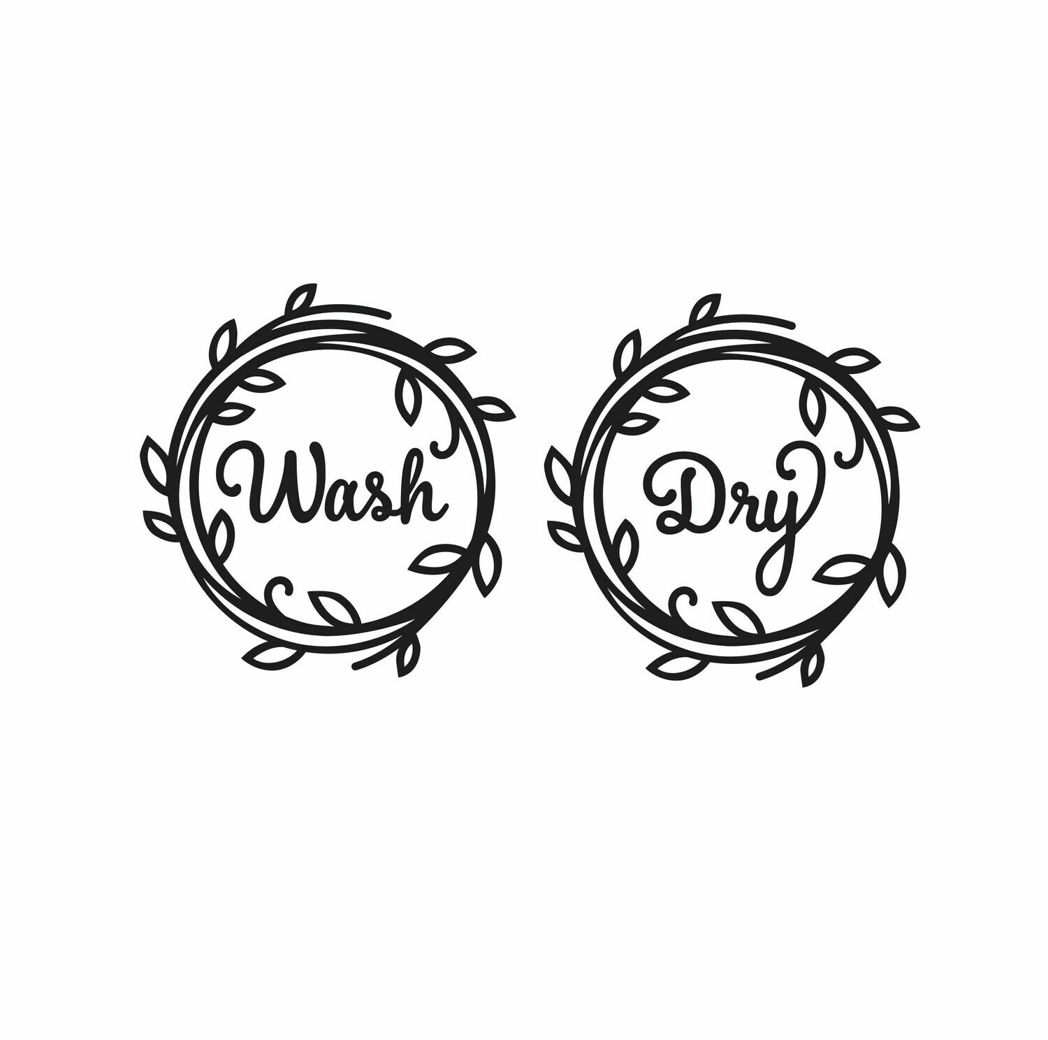 Wash & Dry Decal Set - washing machine door decals