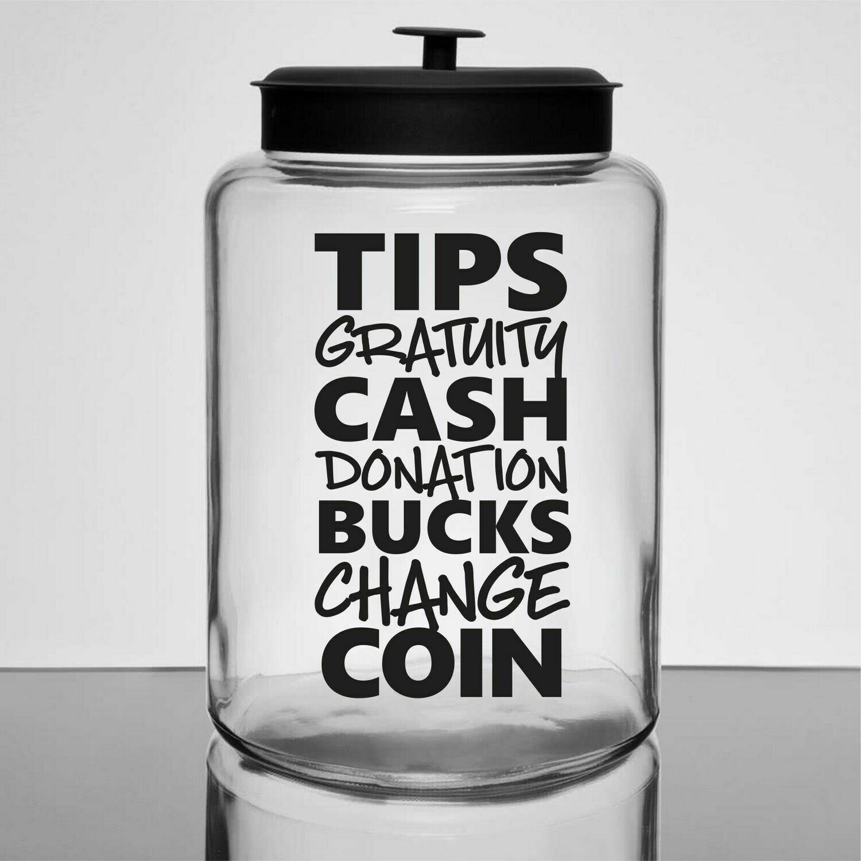 Tip Money Jar Decal - list of words