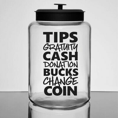 Tip Money Jar Decal - list of words