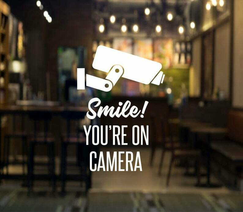 Smile You're on Camera Decal - video surveillance