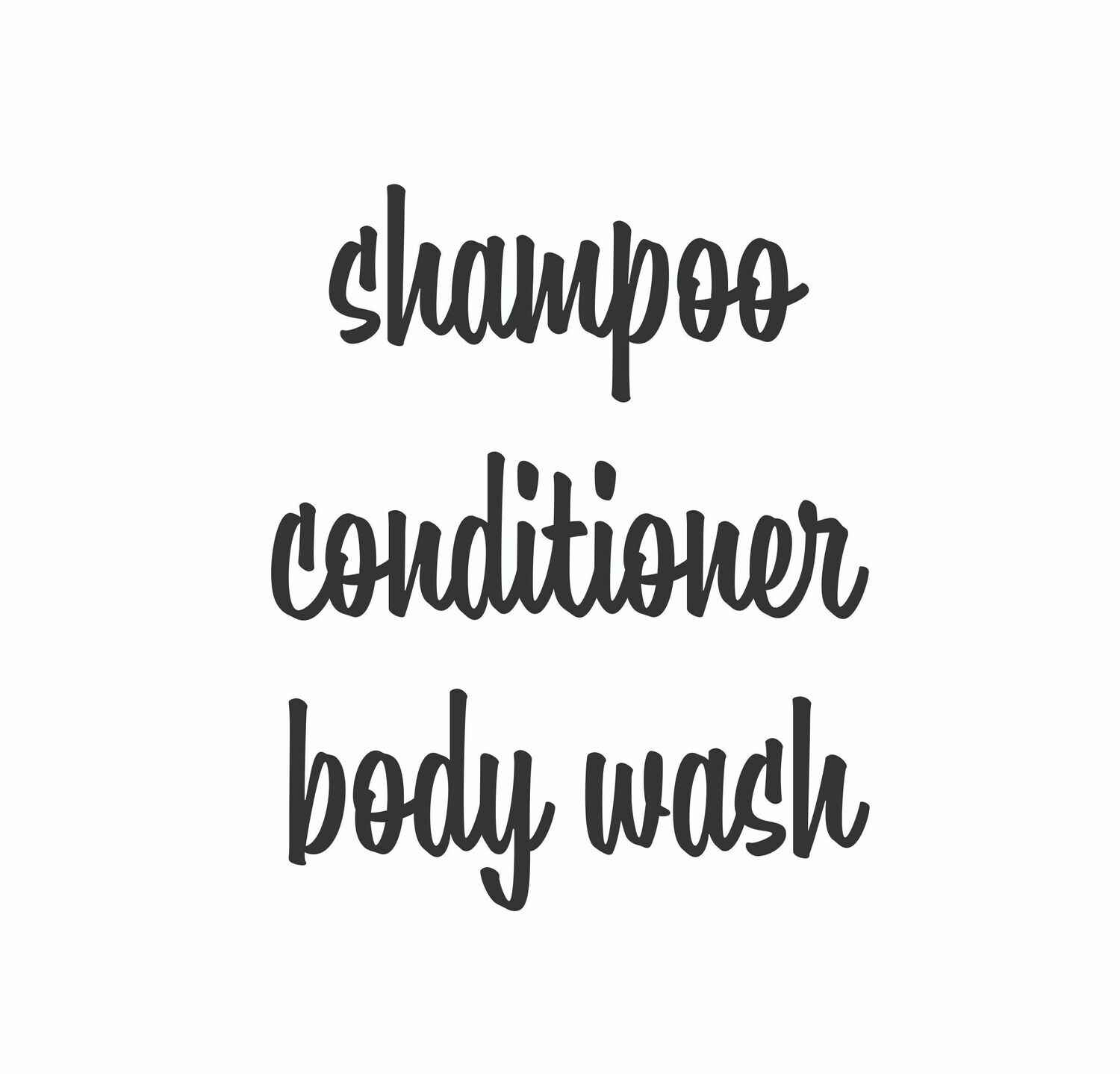 Shampoo Conditioner and Body Wash Decal Set
