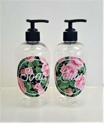 Hand Soap & Hand Lotion Bottle Set - pink rose design