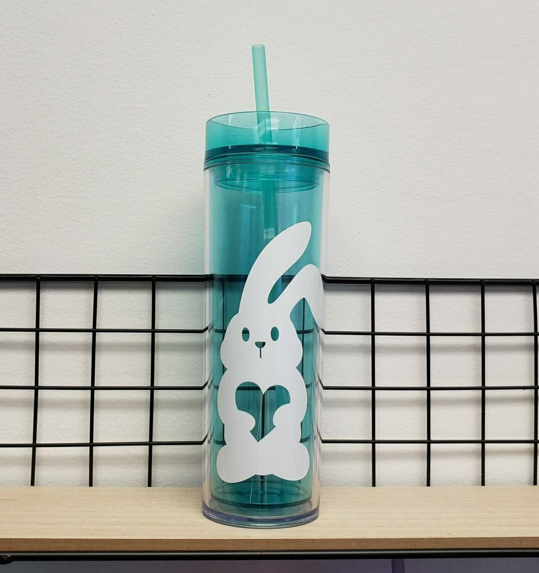 Easter Bunny Skinny Tumbler Drinkware, mint green cup