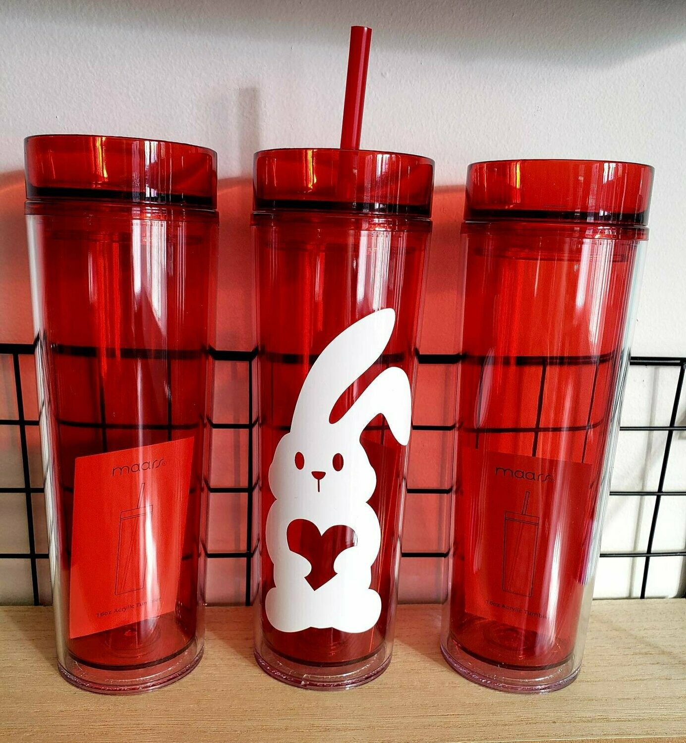 Easter Bunny Skinny Tumbler Drinkware, red cup