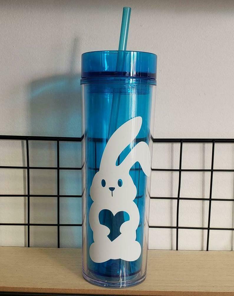 Easter Bunny Skinny Tumbler Drinkware, blue cup