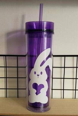 Easter Bunny Skinny Tumbler Drinkware, purple cup