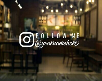 Social Media Instagram Decal, Follow Me with User Name