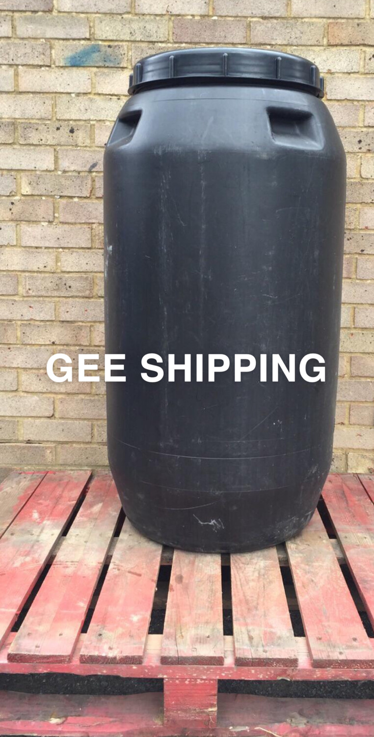 """Product (04) 260 litre USED Black Plastic Barrel , Large Resealable Screw-top Lid With Mesh Sateen 40.5"""" High X 23"""". FREE delivery and pick up only in the London area."""