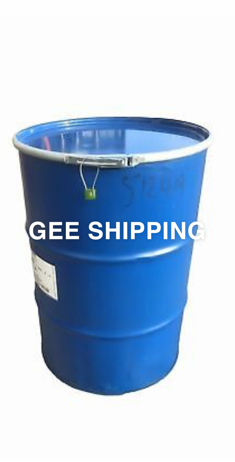 PRODUCT (37) (USED STEEL BARREL) Buy (1) Large barrel 205 litre open top steel drum, FREE delivery and pick up only in the London area. Gee Shipping will not ship any barrel without a lock