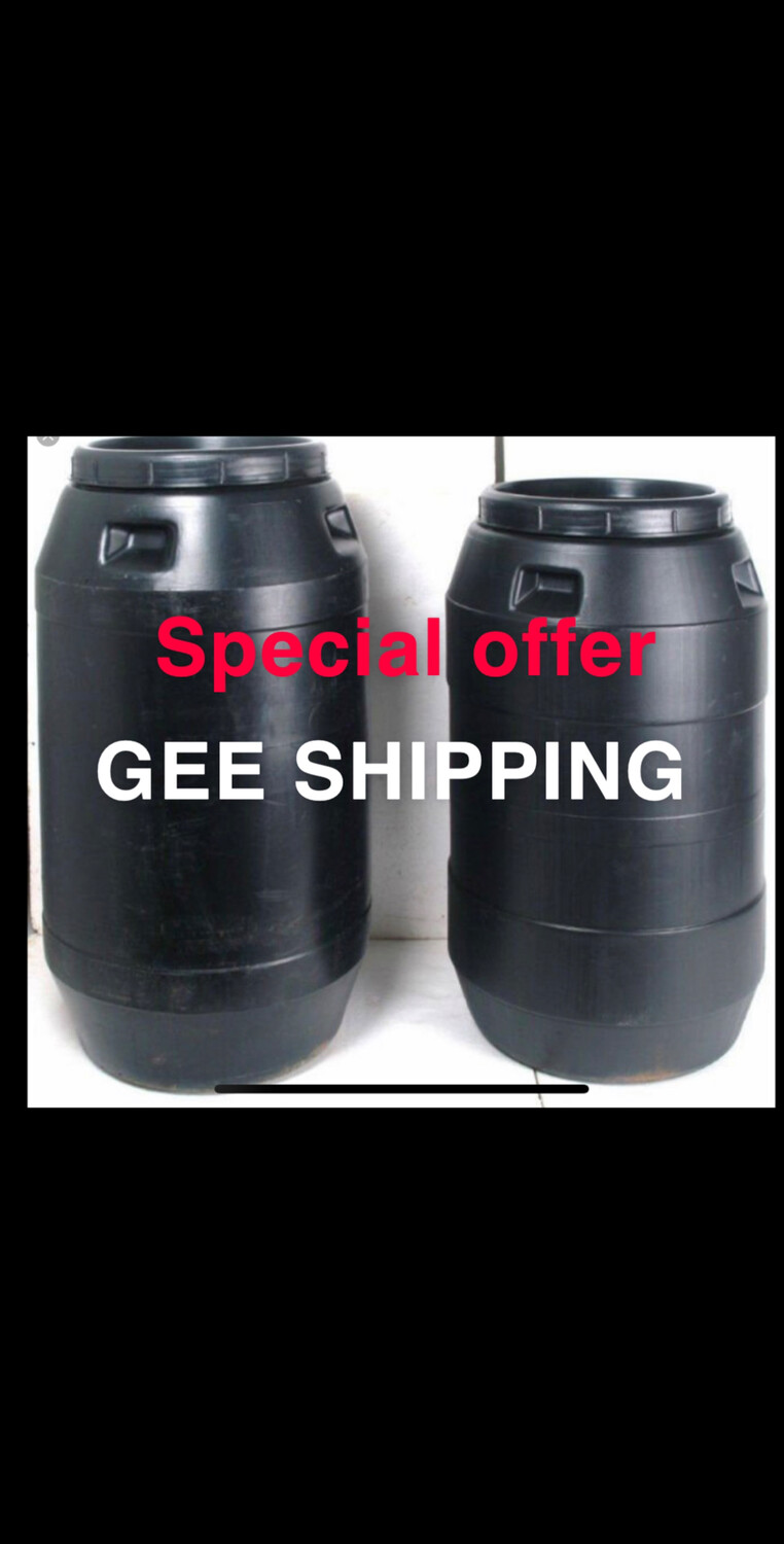 """Product (85) BUY (2) 260 litre USED Black Plastic Barrel , Large Resealable Screw-top Lid With Mesh Sateen 40.5"""" High X 23"""". FREE delivery and pick up only in the London area."""