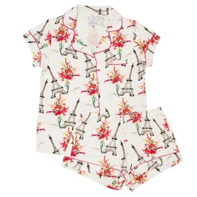 The Cat's Pajamas Eiffel Tower Shorts Pajama Set  Size L