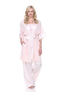 PJ Harlow Shala Satin and Supima Cotton Robe - see colors - Generous Cut