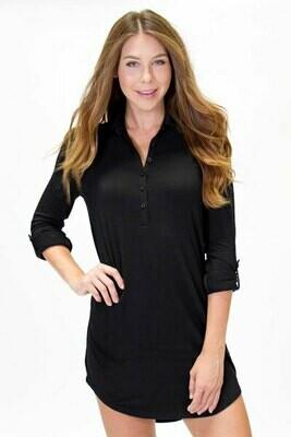 PJ Salvage Womens Black Pajama Night Shirt