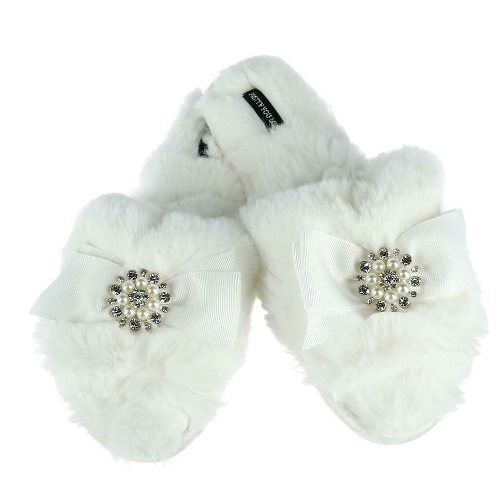 Women's White Slide Rhinestone Luxe Slipper