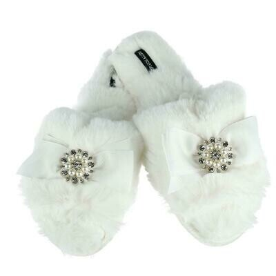 Women's White Slide Rhinestone Luxe Slipper 1 M 7/8 left  XL 9/10