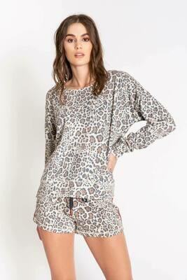 PJ Salvage Wild Heart Leopard Long Sleeve Lounge Shirt