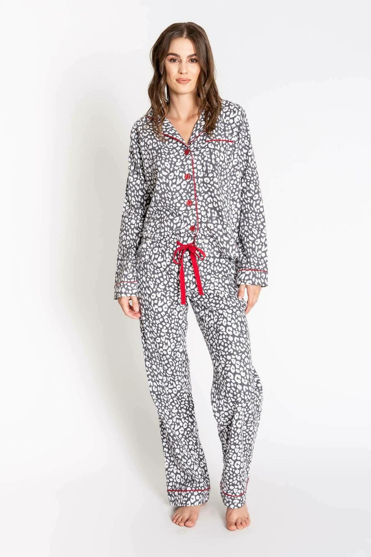 PJ Salvage Chelsea Leopard Soft Cotton Twill Pajama PJ Set