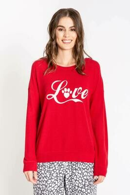 PJ Salvage Chelsea Red Love Long Sleeve Shirt