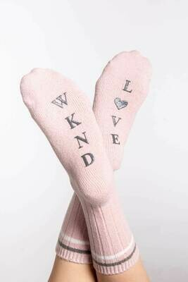 PJ Salvage Pink Weekend Love Nonskid Socks