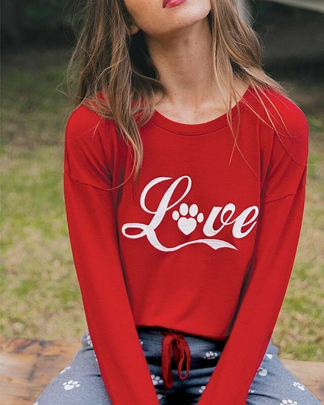 PJ Salvage Red Love Super Soft Long Sleeve Lounge Shirt
