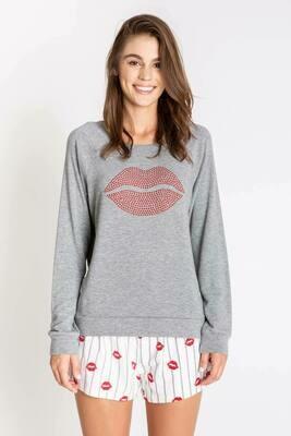 PJ Salvage Grey Rhinestone Red Lips Long Sleeve Shirt  Size S
