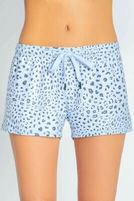 PJ Salvage Womens Blue Leopard Pajama Short