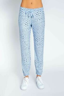 PJ Salvage Womens Blue Leopard PJ Loungewear Jogger Pants
