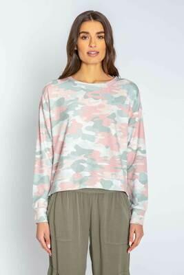 PJ Salvage Womens Camo Long Sleeve PJ Lounge Shirt Size S, L, XL