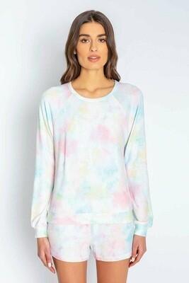 PJ Salvage Spring Tye Dye Womens Long Sleeve Loungwear Top   Size S, M, L